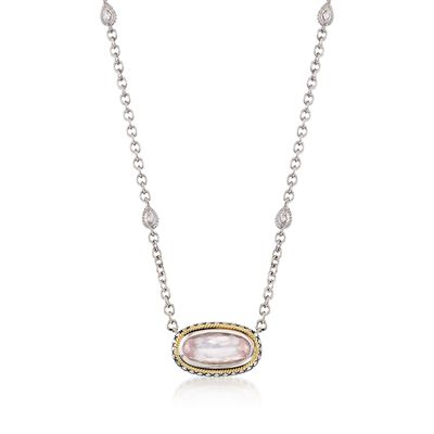 Andrea Candela Rose Quartz Necklace with Diamond Accents in Sterling Silver and 18kt Gold, , default
