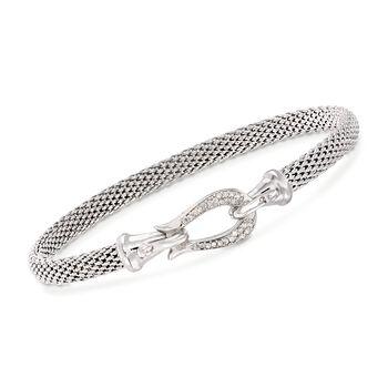 """Phillip Gavriel """"Popcorn"""" .13 ct. t.w. Diamond Horseshoe Hook Bracelet in Sterling Silver. 7.25"""", , default"""