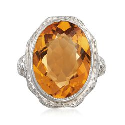 C. 1950 Vintage 7.00 Carat Citrine Engraved Filigree Ring in 14kt White Gold. Size 6.25, , default