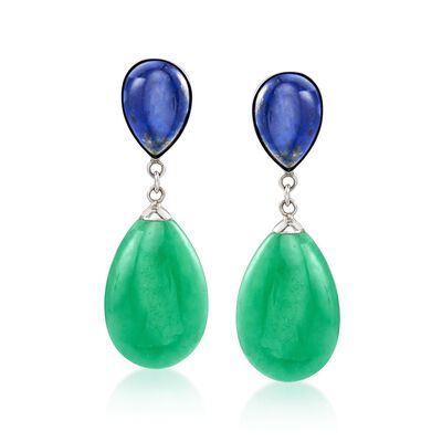 Pear-Shaped Green Jade and Lapis Drop Earrings in Sterling Silver, , default