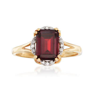 2.20 Carat Garnet Ring with Diamond Accents in 14kt Yellow Gold, , default