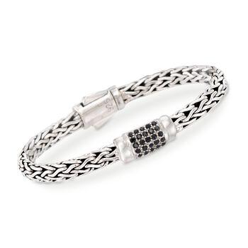 """Phillip Gavriel """"Woven"""" .70 ct. t.w. Black Sapphire Link Bracelet in Sterling Silver. 7.5"""", , default"""