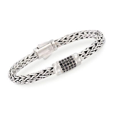 """Phillip Gavriel """"Woven"""" .70 ct. t.w. Black Sapphire Link Bracelet in Sterling Silver, , default"""