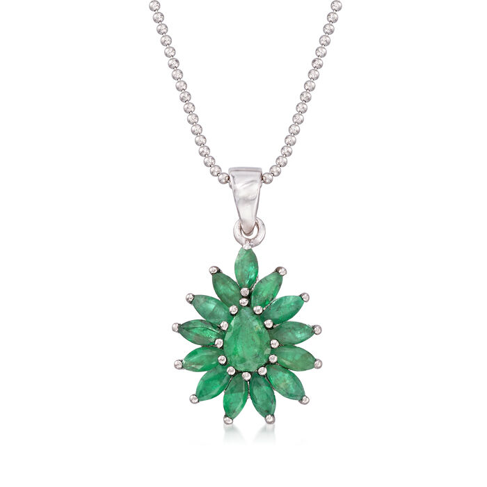 2.20 ct. t.w. Emerald Cluster Pendant Necklace in Sterling Silver