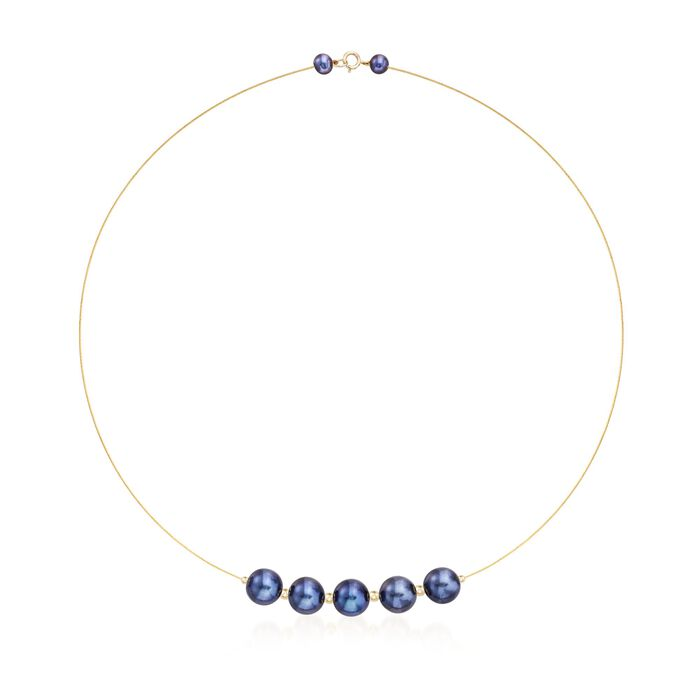 9-9.5mm Black Cultured Pearl Station Wire Necklace in 14kt Yellow Gold, , default