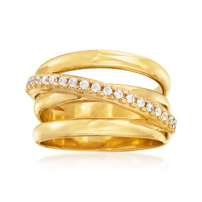 Italian .20 ct. t.w. CZ Highway Ring in 18kt Gold Over Sterling