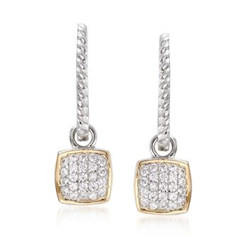 """.69 ct. t.w. CZ Square Charm Hoop Earrings in Sterling Silver and 14kt Gold. 1 1/8"""", , default"""