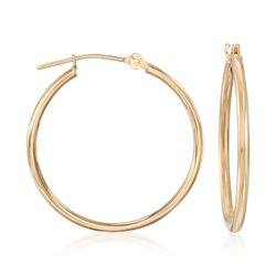 1.5mm 14kt Yellow Gold Medium Hoop Earrings, , default