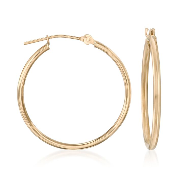 "1.5mm 14kt Yellow Gold Medium Hoop Earrings. 1"", , default"