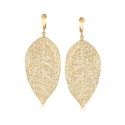 Italian 14kt Yellow Gold Filigree Leaf Drop Earrings, , default