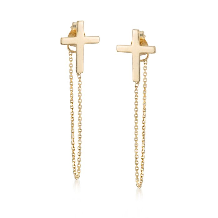 14kt Yellow Gold Cross and Chain Front-Back Drop Earrings
