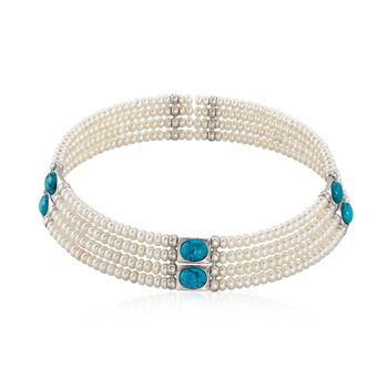 """Simulated Turquoise and 4.5-5mm Cultured Pearl Cuff Choker Necklace in Sterling Silver. 15.5"""", , default"""