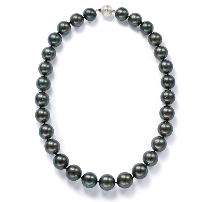 13-15mm Black Cultured Tahitian Pearl Necklace with Diamonds and 14kt White Gold