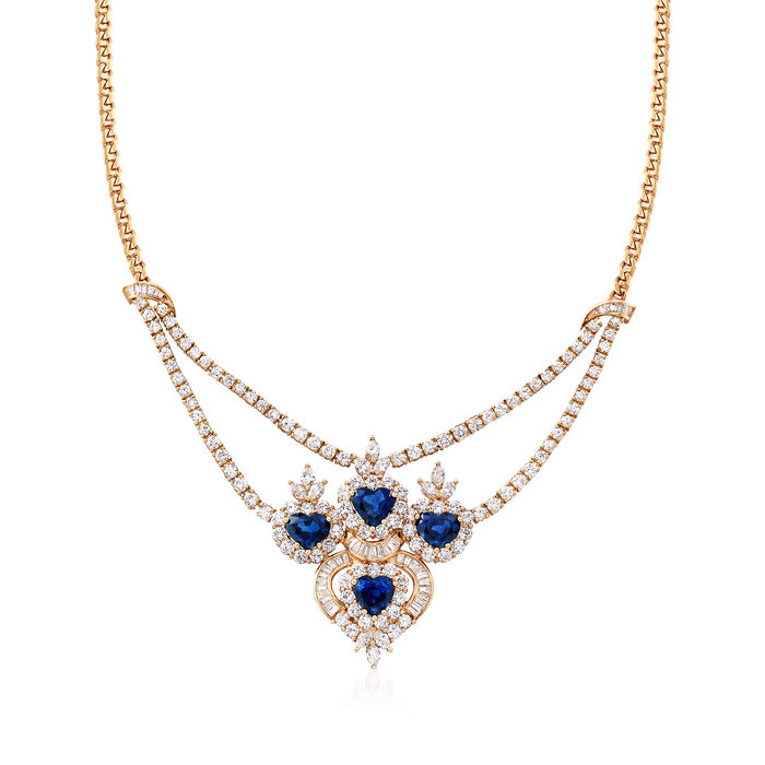 """C. 1980 Vintage 11.85 ct. t.w. Diamond and 8.00 ct. t.w. Sapphire Necklace in 18kt Yellow Gold. 16"""", , default"""