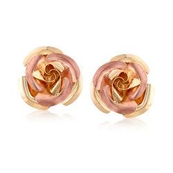Italian 14kt Two-Tone Gold Rose Earrings, , default