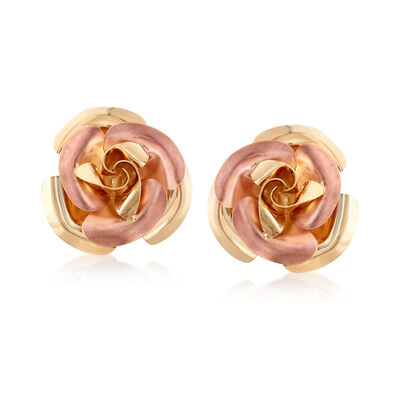 Italian 14kt Two-Tone Gold Rose Earrings, , default