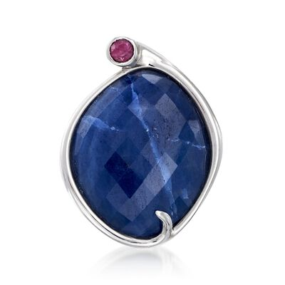 35.00 Carat Sapphire and .50 Carat Ruby Ring in Sterling Silver, , default