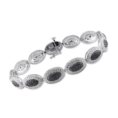 .15 ct. t.w. Black Diamond Beaded Oval Bracelet in Sterling Silver, , default