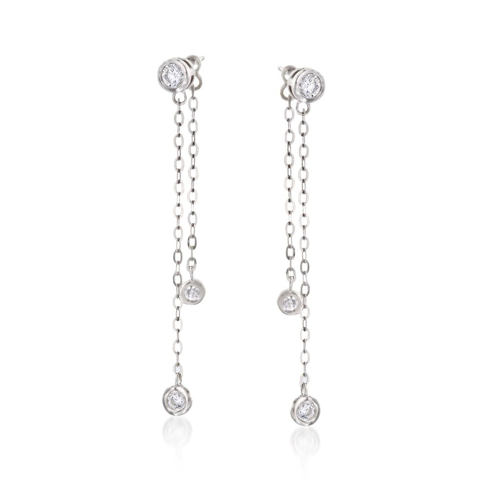 T W Cz Chain Drop Earrings With Removable Strand In Sterling Silver