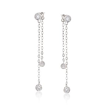 .36 ct. t.w. CZ Chain Drop Earrings With Removable Strand in Sterling Silver, , default