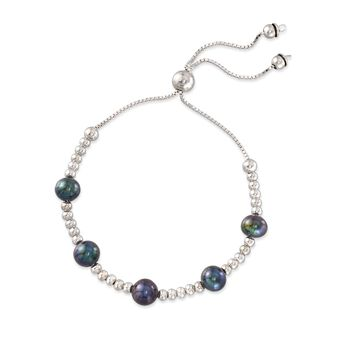 7-7.5mm Black Cultured Pearl and Sterling Silver Bead Bolo Bracelet, , default