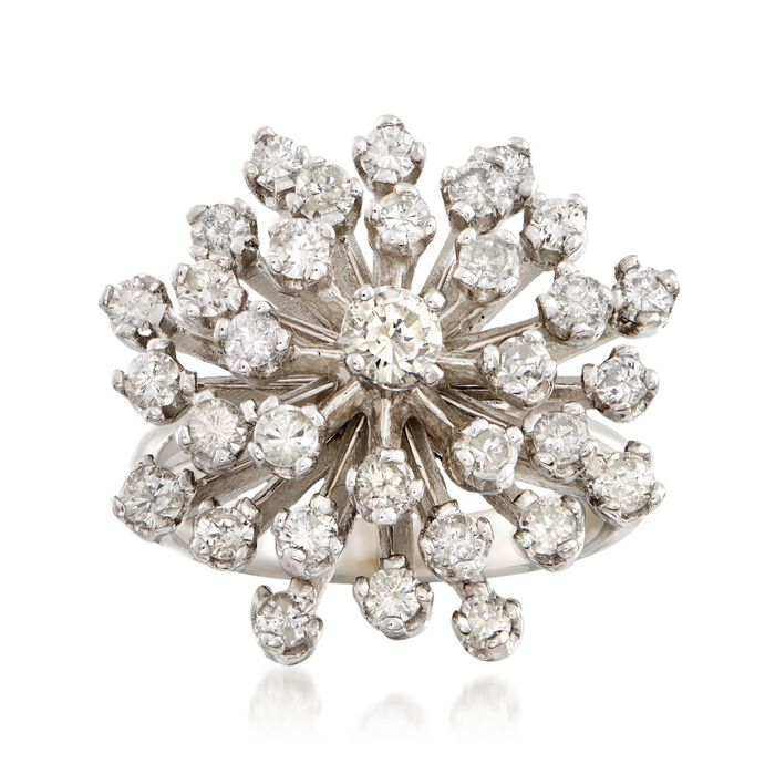 C. 1970 Vintage 1.65 ct. t.w. Diamond Cluster Ring in 14kt White Gold. Size 6.25, , default