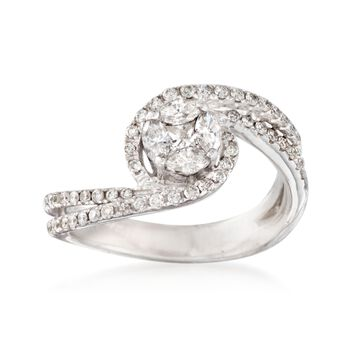.75 ct. t.w. Diamond Swirl Ring in 14kt White Gold, , default
