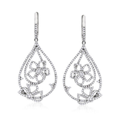 C. 1990 Vintage Giantti 1.79 ct. t.w. Diamond Flower Drop Earrings in 18kt White Gold