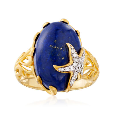 Lapis and .10 ct. t.w. Diamond Starfish Ring in 18kt Gold Over Sterling, , default