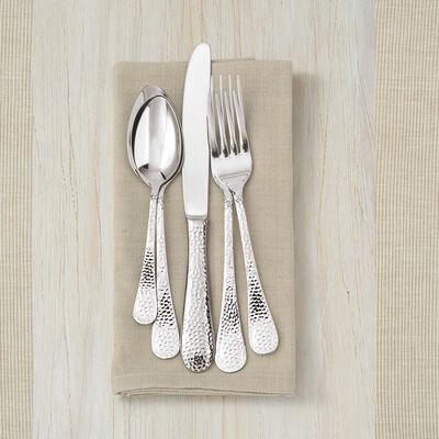 "Wallace ""Continental Hammered"" Stainless Steel Flatware, , default"