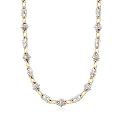 "Phillip Gavriel ""Italian Cable"" Sterling Silver and 18kt Gold Cable-Link Necklace, , default"