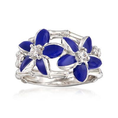 "Belle Etoile ""Leilani"" Blue Enamel and .17 ct. t.w. CZ Flower Ring in Sterling Silver"