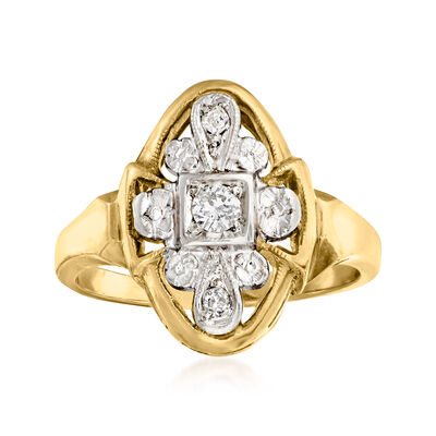 C. 1950 Vintage .13 ct. t.w. Diamond Cluster Ring in 14kt Two-Tone Gold