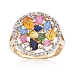 C. 1990 Vintage 1.50 ct. t.w. Multicolored Sapphire and .15 ct. t.w. Diamond Round Cluster Ring in 14kt Yellow Gold. Size 7, , default