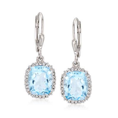 6.60 ct. t.w. Swiss Blue Topaz and .20 ct. t.w. White Topaz Drop Earrings in Sterling Silver, , default