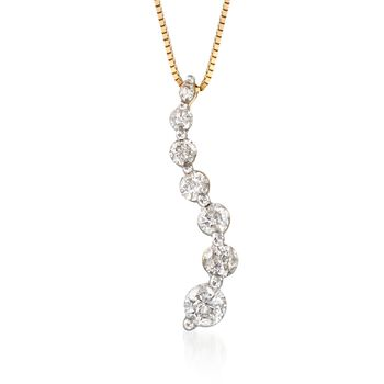 ".50 ct. t.w. Diamond Journey Pendant Necklace in 14kt Yellow Gold. 18"", , default"