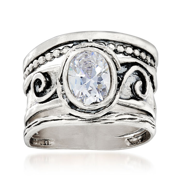 1.25 Carat CZ Scrollwork Ring in Sterling Silver