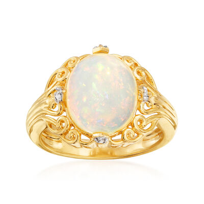 Opal Cocktail Ring with White Topaz Accents in 18kt Gold Over Sterling
