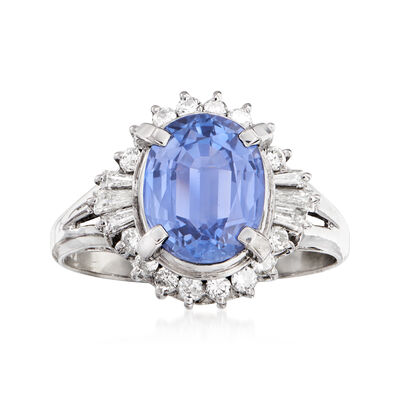 C. 1990 Vintage 2.53 Carat Sapphire and .44 ct. t.w. Diamond Ring in Platinum
