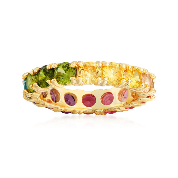 3.00 ct. t.w. Multicolored CZ Eternity Band in 18kt Gold Over Sterling