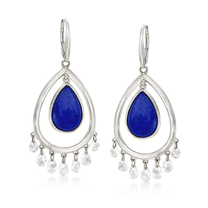 Lapis and Rock Crystal Drop Earrings in Sterling Silver, , default