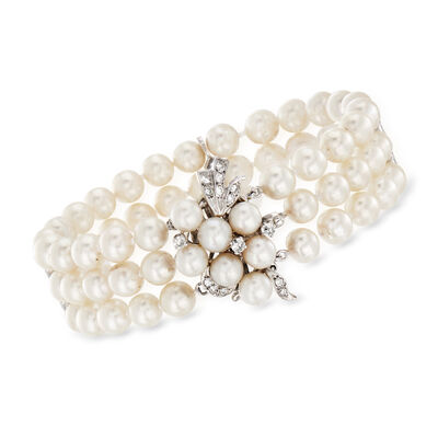 C. 1960 Vintage Three-Row Cultured Pearl and .55 ct. t.w. Diamond Bracelet in 14kt White Gold, , default