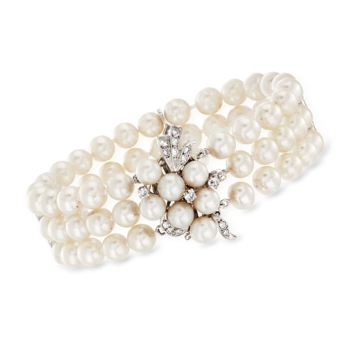 C. 1960 Vintage Three-Row Cultured Pearl and .55 ct. t.w. Diamond Bracelet in 14kt White Gold. 6.75""