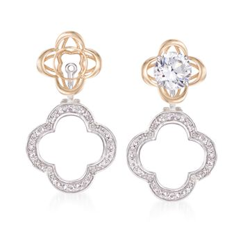 .25 ct. t.w. Diamond Clover Earring Jackets in 14kt Two-Tone Gold, , default