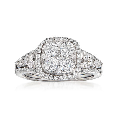 C. 2000 Vintage 1.25 ct. t.w. Diamond Cluster Ring in 14kt White Gold