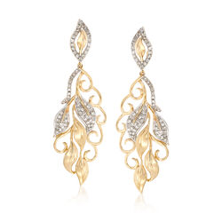 .52 ct. t.w. Diamond Multi-Leaf Drop Earrings in 14kt Yellow Gold, , default