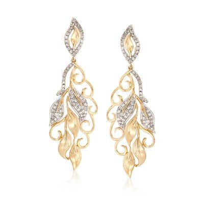 .52 ct. t.w. Diamond Multi-Leaf Drop Earrings in 14kt Yellow Gold, , default
