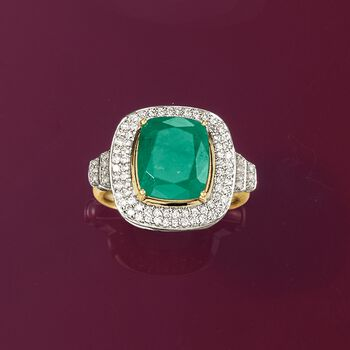 3.40 Carat Emerald and .46 ct. t.w. Diamond Ring in 14kt Yellow Gold, , default