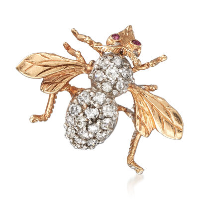 C. 1980 Vintage 1.00 ct. t.w. Diamond Bee Pin Pendant with Ruby Accents in 14kt Yellow Gold