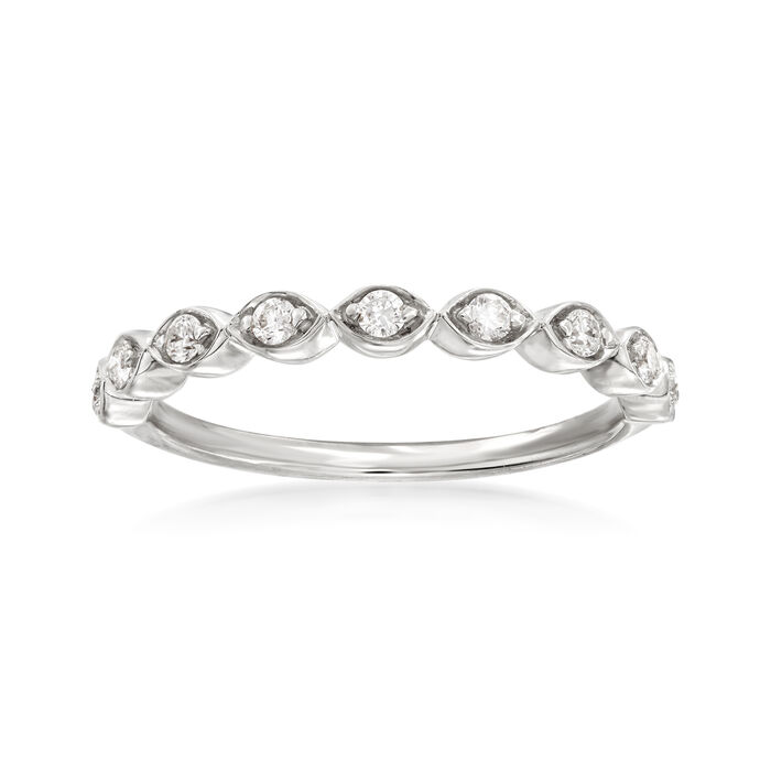 Henri Daussi .17 ct. t.w. Diamond Wedding Ring in 14kt White Gold